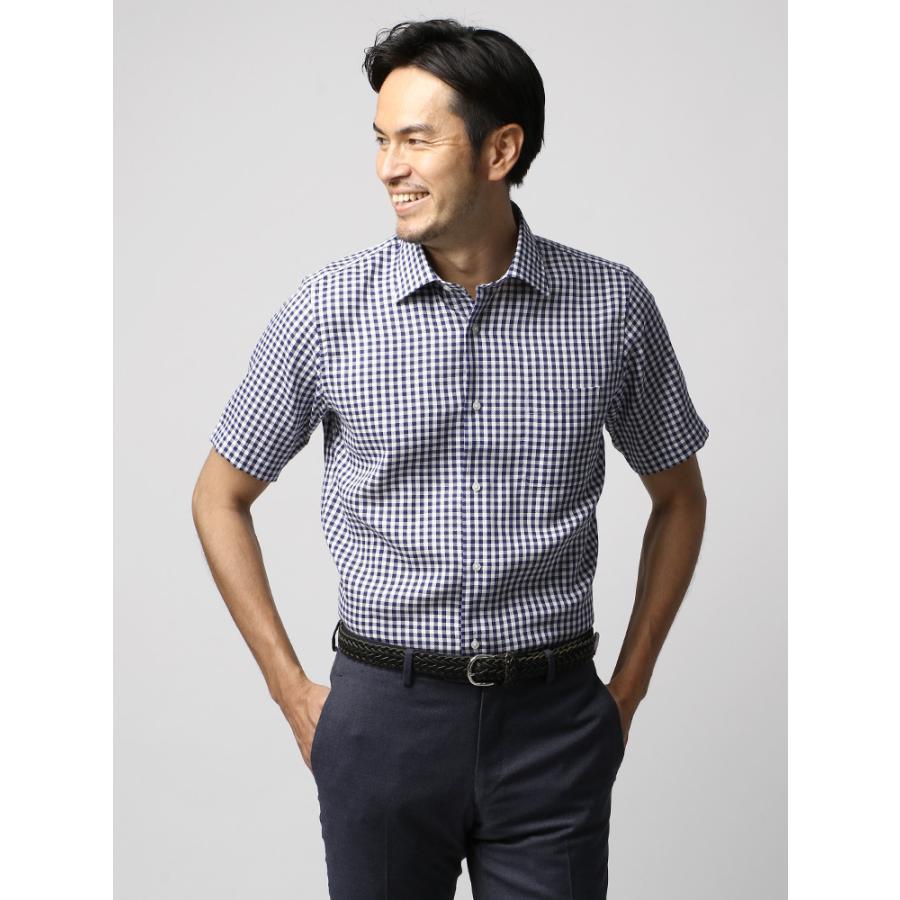 ドレスシャツ/メンズ/半袖・ICE COTTON/ワイドカラードレスシャツ ギンガムチェック ネイビー×ホワイト