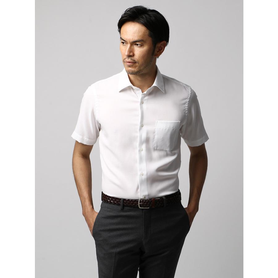 ドレスシャツ/長袖/メンズ/半袖・ICE COTTON/ワイドカラードレスシャツ 織柄 ホワイト