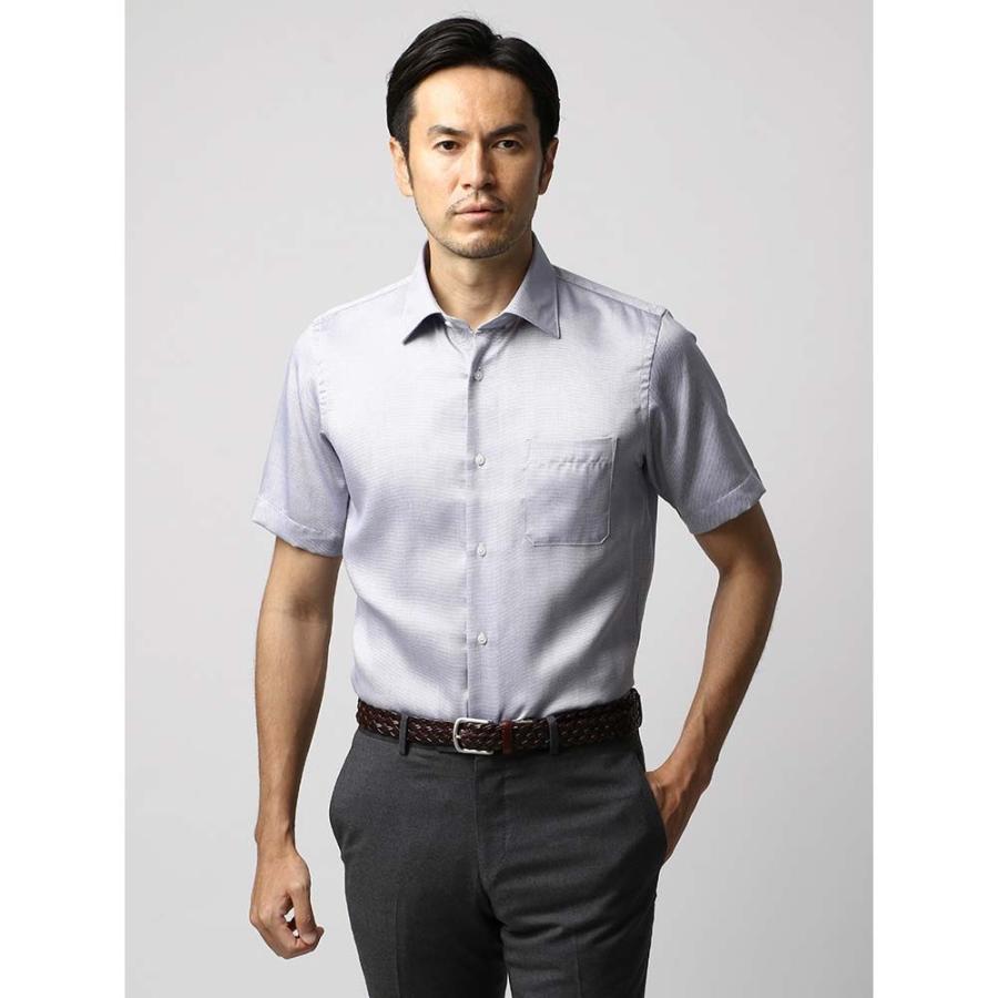 ドレスシャツ/長袖/メンズ/半袖・ICE COTTON/ワイドカラードレスシャツ 織柄 ネイビー×ホワイト