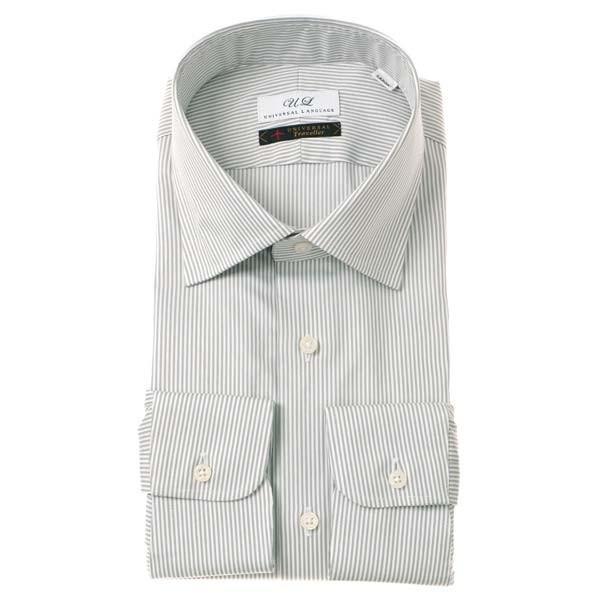 ドレスシャツ/長袖/メンズ/ワイドカラードレスシャツ ストライプ グレー×ホワイト
