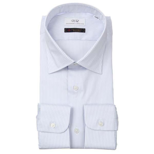 ドレスシャツ/長袖/メンズ/ワイドカラードレスシャツ ストライプ サックスブルー×ホワイト