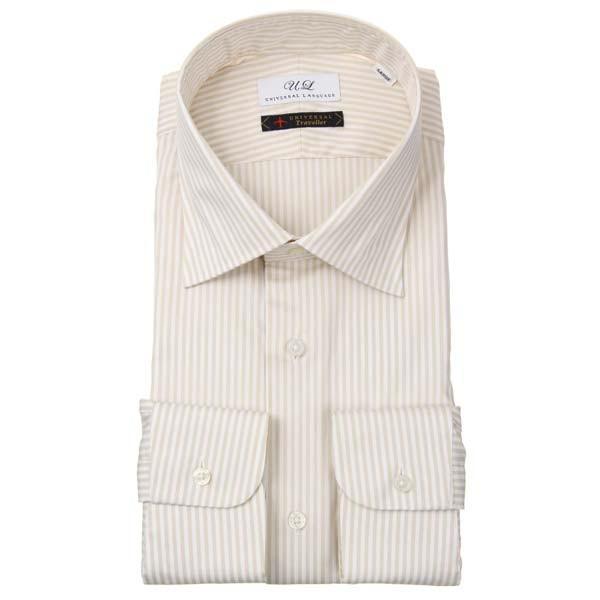 ドレスシャツ/長袖/メンズ/ワイドカラードレスシャツ ストライプ ベージュ×ホワイト