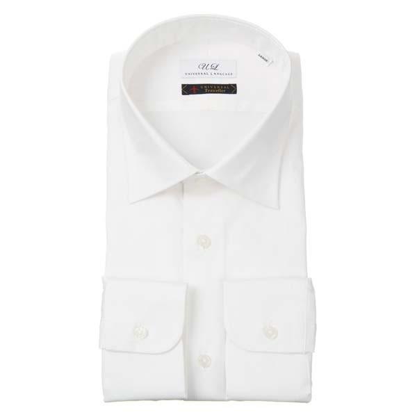 ドレスシャツ/長袖/メンズ/ワイドカラードレスシャツ シャドーストライプ ホワイト