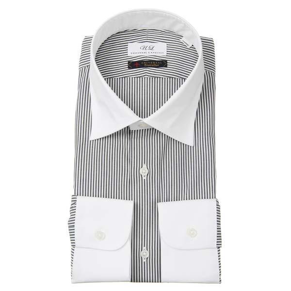 ドレスシャツ/長袖/メンズ/クレリック&ワイドカラードレスシャツ ストライプ チャコールグレー×ホワイト