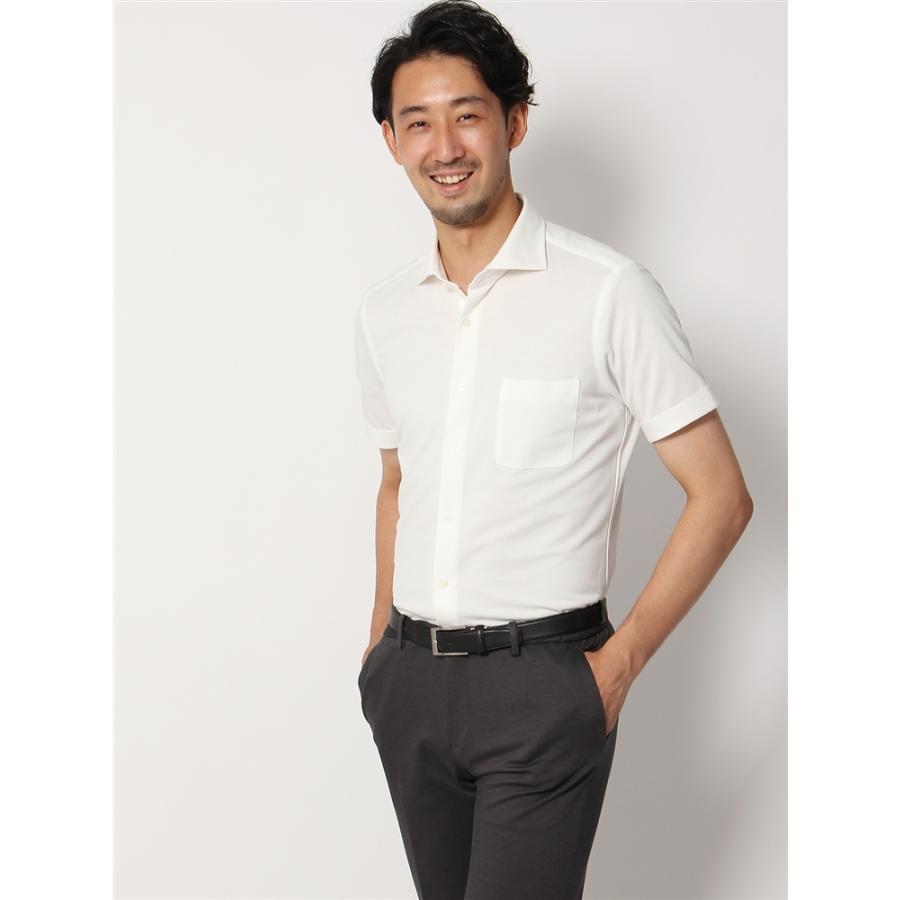 ドレスシャツ/半袖/メンズ/半袖・ノンアイロンジャージー素材/WE SUIT YOU/ホリゾンタルカラードレスシャツ 織柄 ホワイト