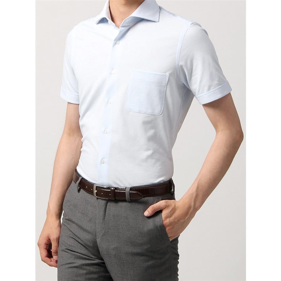 ドレスシャツ/半袖/メンズ/半袖・ノンアイロンジャージー素材/WE SUIT YOU/ホリゾンタルカラードレスシャツ 織柄 サックスブルー