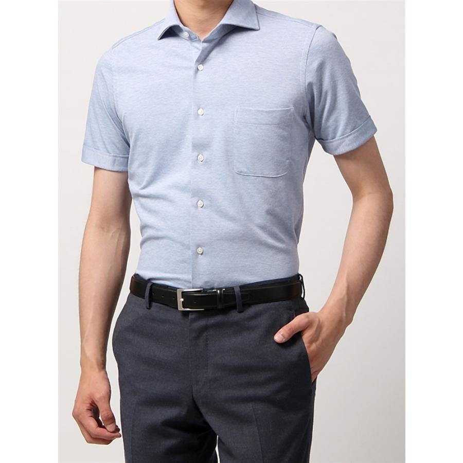 ドレスシャツ/半袖/メンズ/半袖・ノンアイロンジャージー素材/WE SUIT YOU/ホリゾンタルカラードレスシャツ 織柄 ブルー×ホワイト