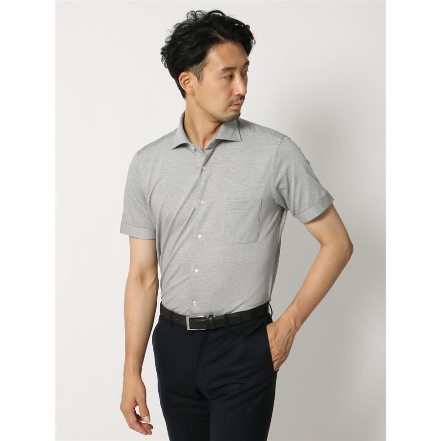 ドレスシャツ/半袖/メンズ/半袖・ノンアイロンジャージー素材/WE SUIT YOU/ホリゾンタルカラードレスシャツ 織柄 ミディアムグレー×ホワイト
