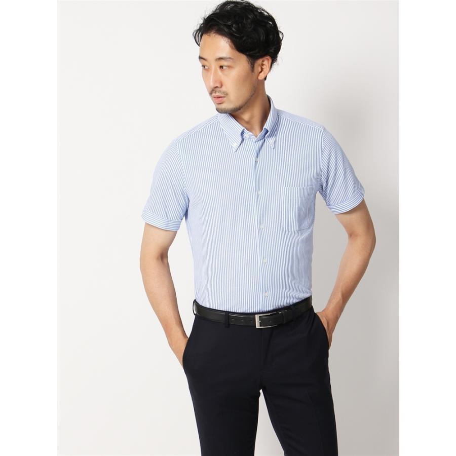 ドレスシャツ/半袖/メンズ/半袖・ノンアイロンジャージー素材/WE SUIT YOU/ボタンダウンカラードレスシャツ ブルー×ホワイト