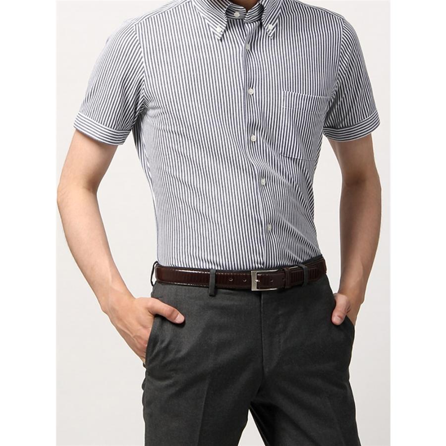 ドレスシャツ/半袖/メンズ/半袖・ノンアイロンジャージー素材/WE SUIT YOU/ボタンダウンカラードレスシャツ ネイビー×ホワイト