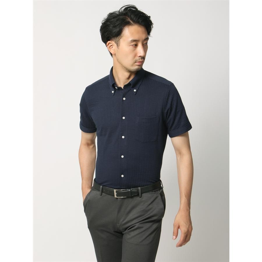 ドレスシャツ/半袖/メンズ/半袖・ノンアイロンジャージー素材/WE SUIT YOU/ボタンダウンカラードレスシャツ ネイビー