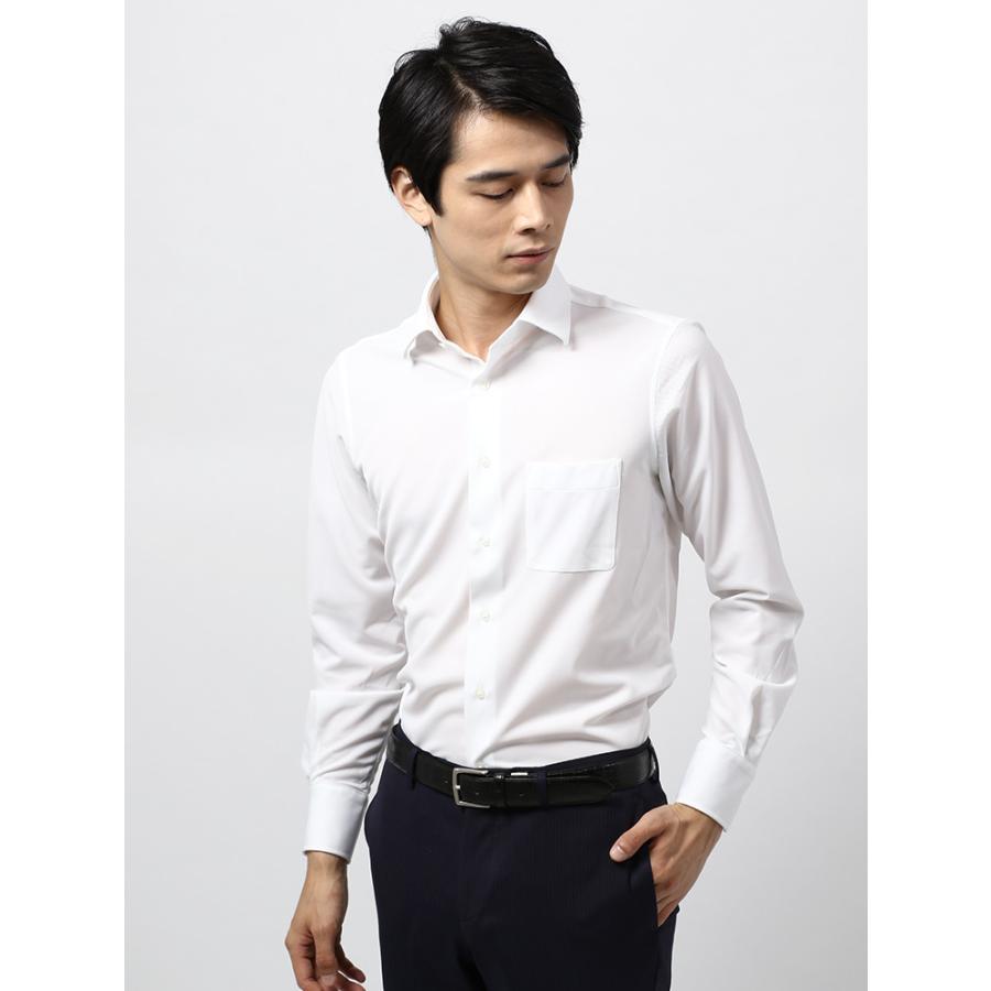 ドレスシャツ/長袖/メンズ/ノンアイロンジャージー素材/WE SUIT YOU/ワイドカラードレスシャツ 織柄 ホワイト
