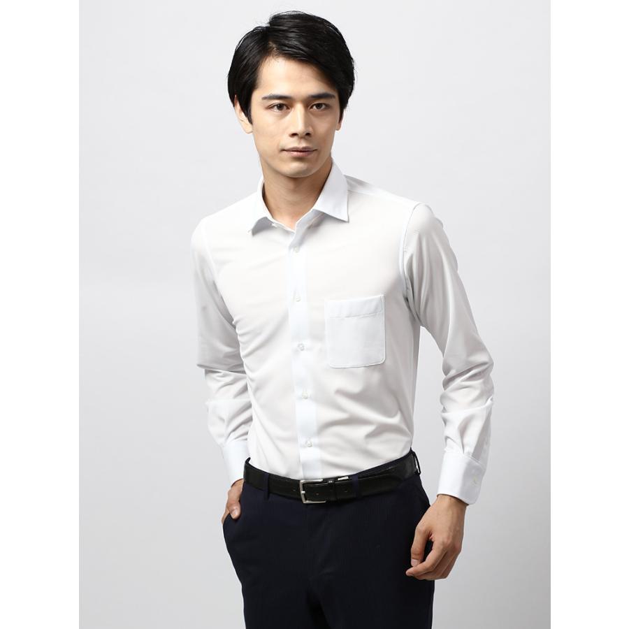 ドレスシャツ/長袖/メンズ/ノンアイロンジャージー素材/WE SUIT YOU/ワイドカラードレスシャツ 織柄 ホワイト×サックスブルー
