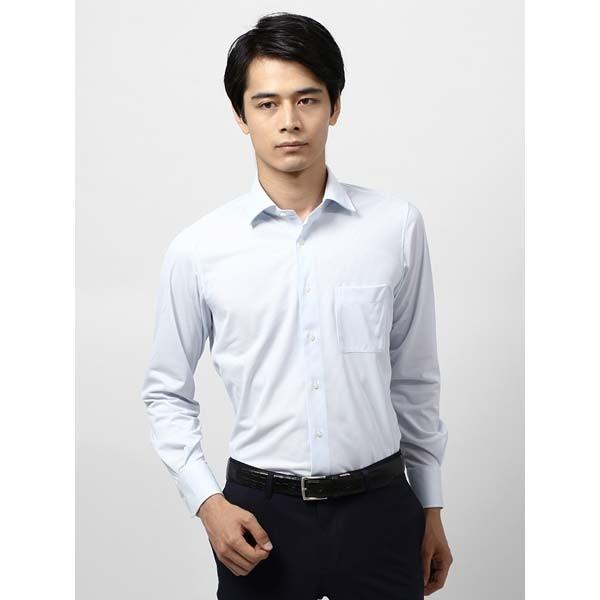 ドレスシャツ/長袖/メンズ/ノンアイロンジャージー素材/WE SUIT YOU/ワイドカラードレスシャツ ストライプ ホワイト×サックスブルー