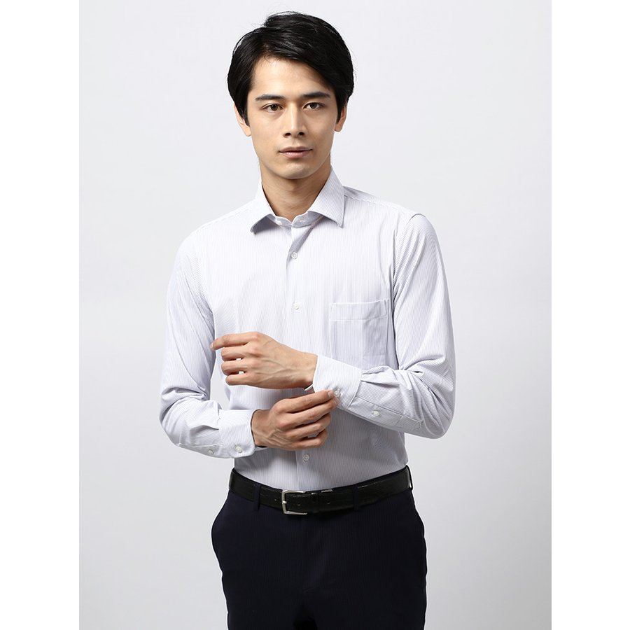 ドレスシャツ/長袖/メンズ/ノンアイロンジャージー素材/WE SUIT YOU/ワイドカラードレスシャツ ストライプ ホワイト×パープル