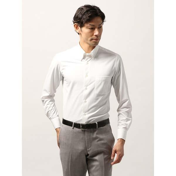 ドレスシャツ/長袖/メンズ/ノンアイロンジャージー素材/WE SUIT YOU/ボタンダウンカラードレスシャツ ホワイト