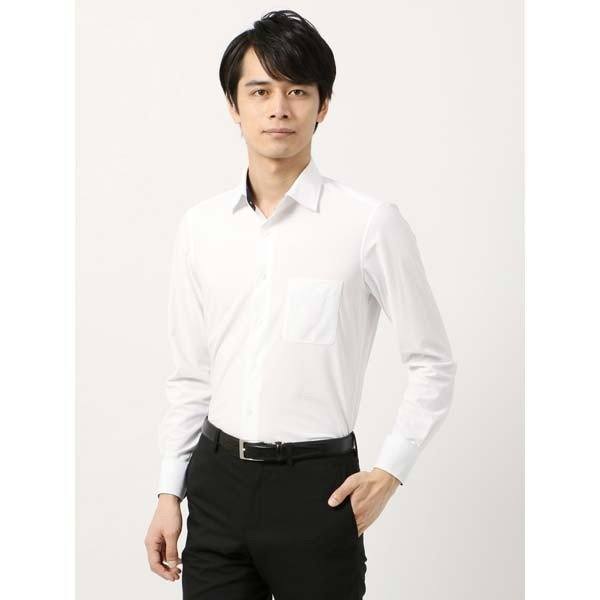 ドレスシャツ/長袖/メンズ/ノンアイロンジャージー素材/WE SUIT YOU/ワイドカラードレスシャツ ホワイト
