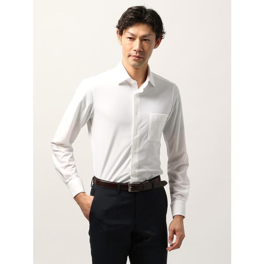 ドレスシャツ/長袖/メンズ/ノンアイロンジャージー素材/WE SUIT YOU/ホリゾンタルカラードレスシャツ 織柄 ホワイト