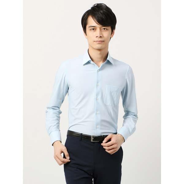 ドレスシャツ/長袖/メンズ/ノンアイロンジャージー素材/WE SUIT YOU/ワイドカラードレスシャツ サックスブルー×ホワイト