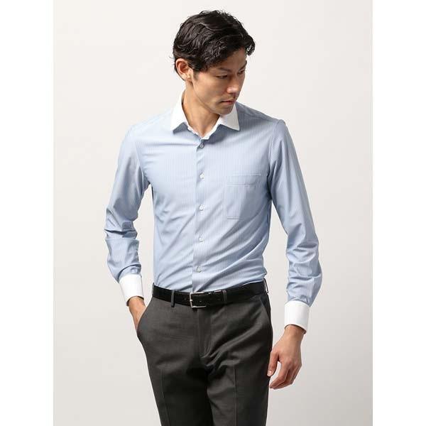 ドレスシャツ/長袖/メンズ/ノンアイロンジャージー素材/WE SUIT YOU/クレリック&ホリゾンタルカラードレスシャツ ブルー×ホワイト