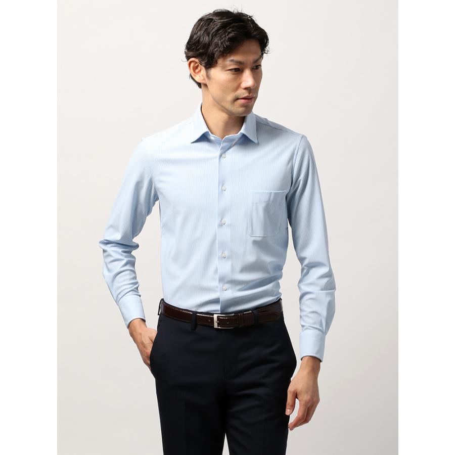 ドレスシャツ/長袖/メンズ/ノンアイロンジャージー素材/WE SUIT YOU/ホリゾンタルカラードレスシャツ ストライプ ブルー×ホワイト