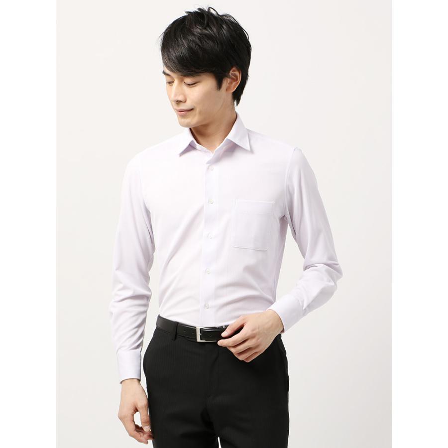 ドレスシャツ/長袖/メンズ/ノンアイロンジャージー素材/WE SUIT YOU/ワイドカラードレスシャツ ホワイト×パープル