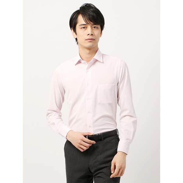 ドレスシャツ/長袖/メンズ/ノンアイロンジャージー素材/WE SUIT YOU/ワイドカラードレスシャツ ホワイト×ピンク