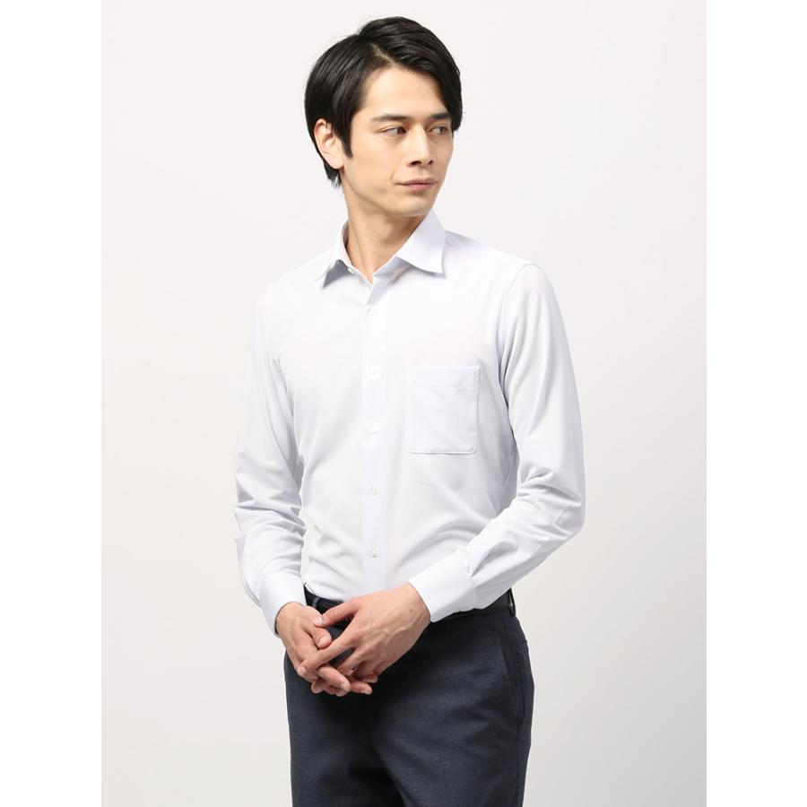 ドレスシャツ/長袖/メンズ/ノンアイロンジャージー素材/WE SUIT YOU/ホリゾンタルカラードレスシャツ 織柄 ホワイト×ネイビー