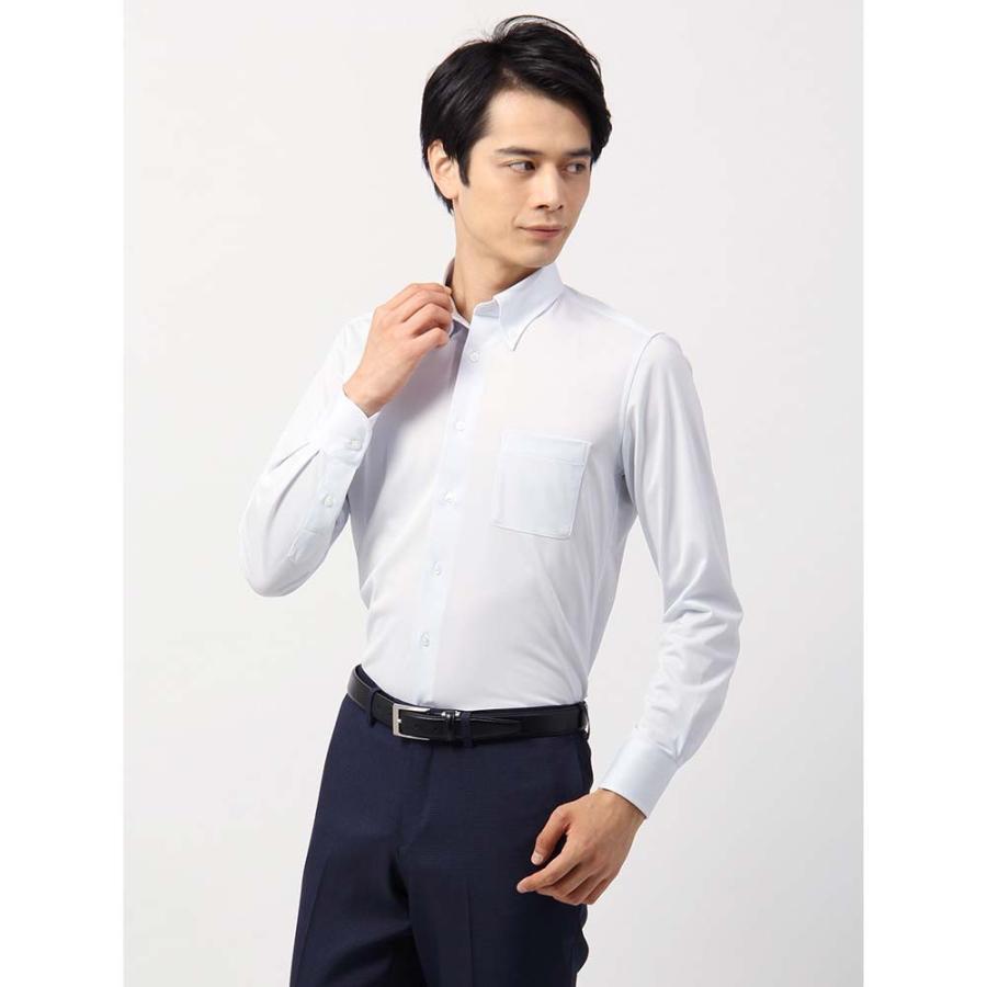 ドレスシャツ/長袖/メンズ/ノンアイロンジャージー素材/WE SUIT YOU/ボタンダウンカラードレスシャツ サックスブルー