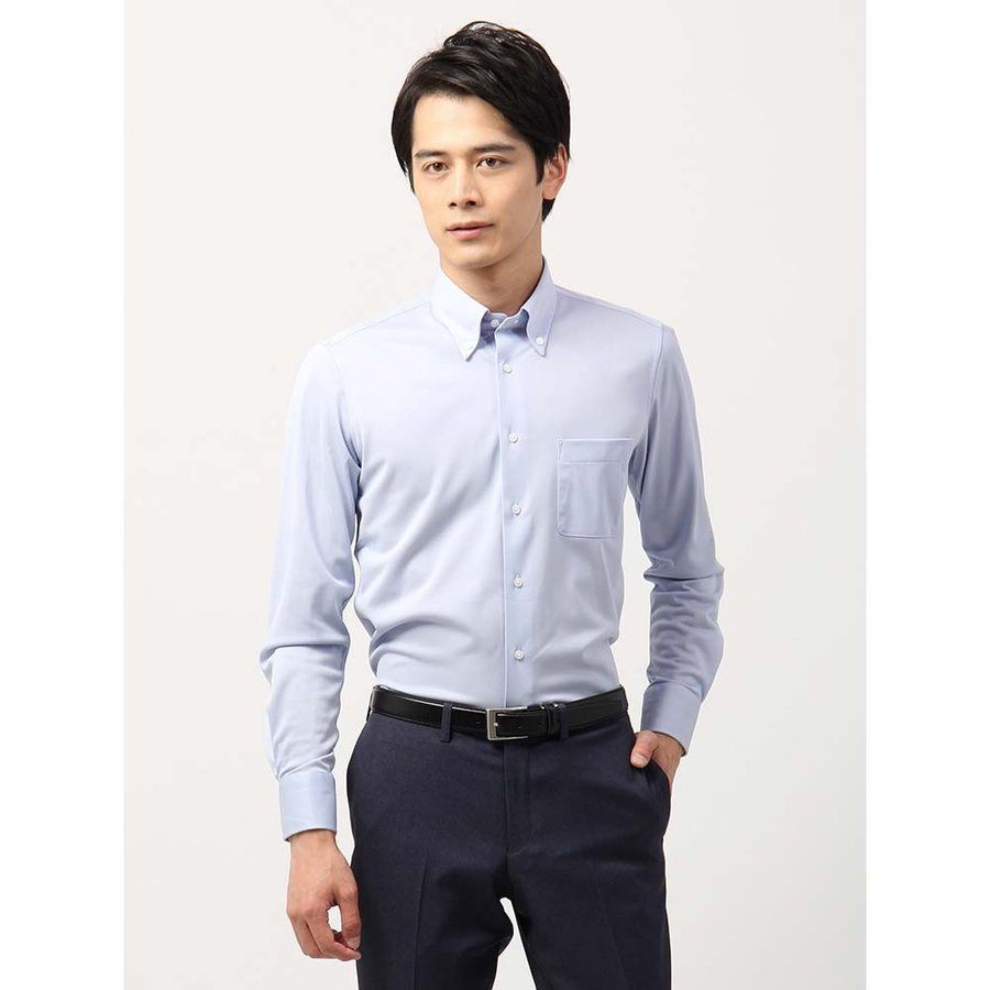 ドレスシャツ/長袖/メンズ/ノンアイロンジャージー素材/WE SUIT YOU/ボタンダウンカラードレスシャツ ブルー