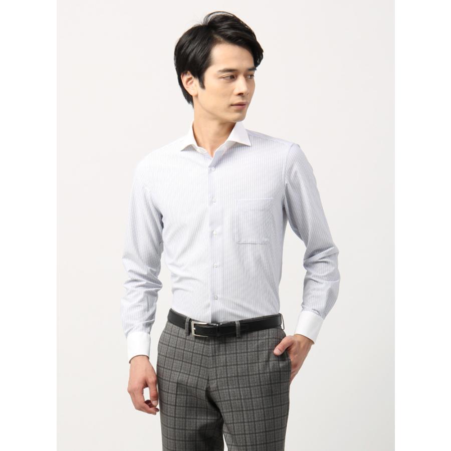 ドレスシャツ/長袖/メンズ/ノンアイロンジャージー素材/WE SUIT YOU/クレリック&ホリゾンタルカラードレスシャツ ホワイト×ネイビー