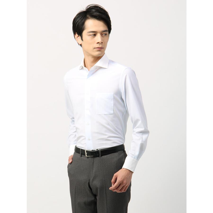 ドレスシャツ/長袖/メンズ/ノンアイロンジャージー素材/WE SUIT YOU/クレリック&ホリゾンタルカラードレスシャツ ホワイト×サックスブルー