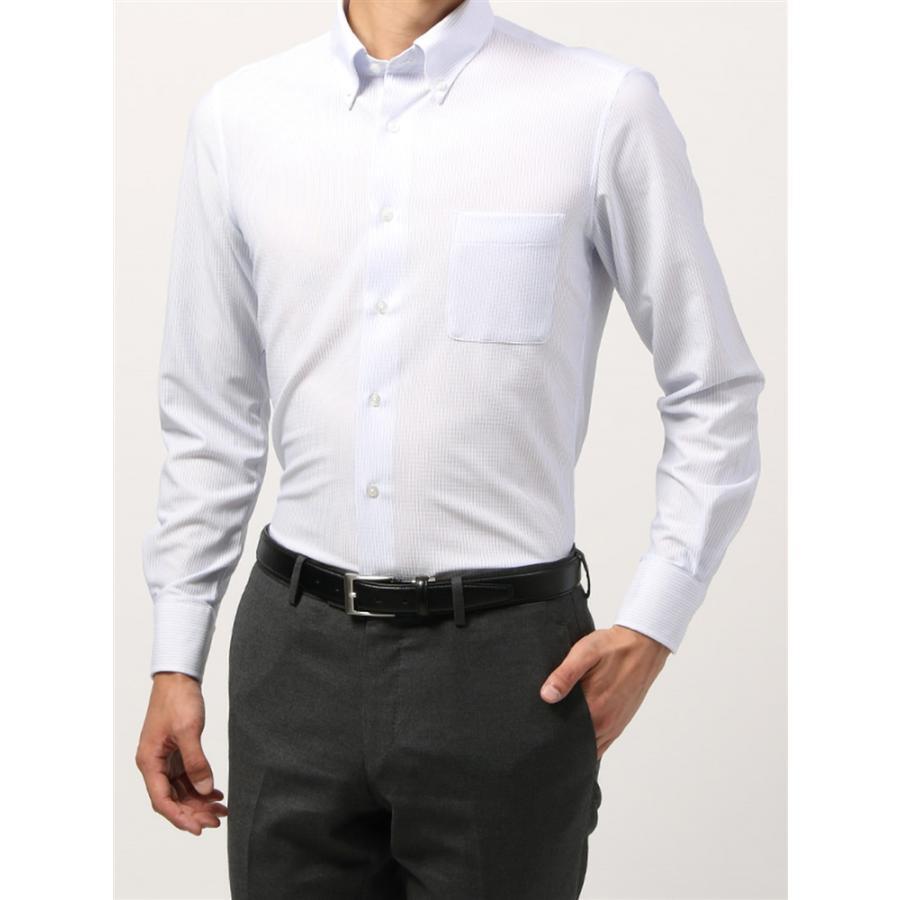 ドレスシャツ/長袖/メンズ/ノンアイロンジャージー素材/WE SUIT YOU/ボタンダウンカラードレスシャツ ホワイト×ブルー