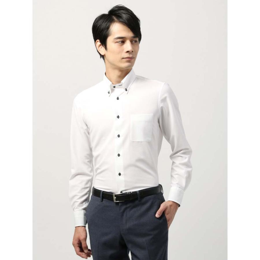 ドレスシャツ/長袖/メンズ/ノンアイロンジャージー素材/WE SUIT YOU/ボタンダウンカラードレスシャツ 織柄 ホワイト