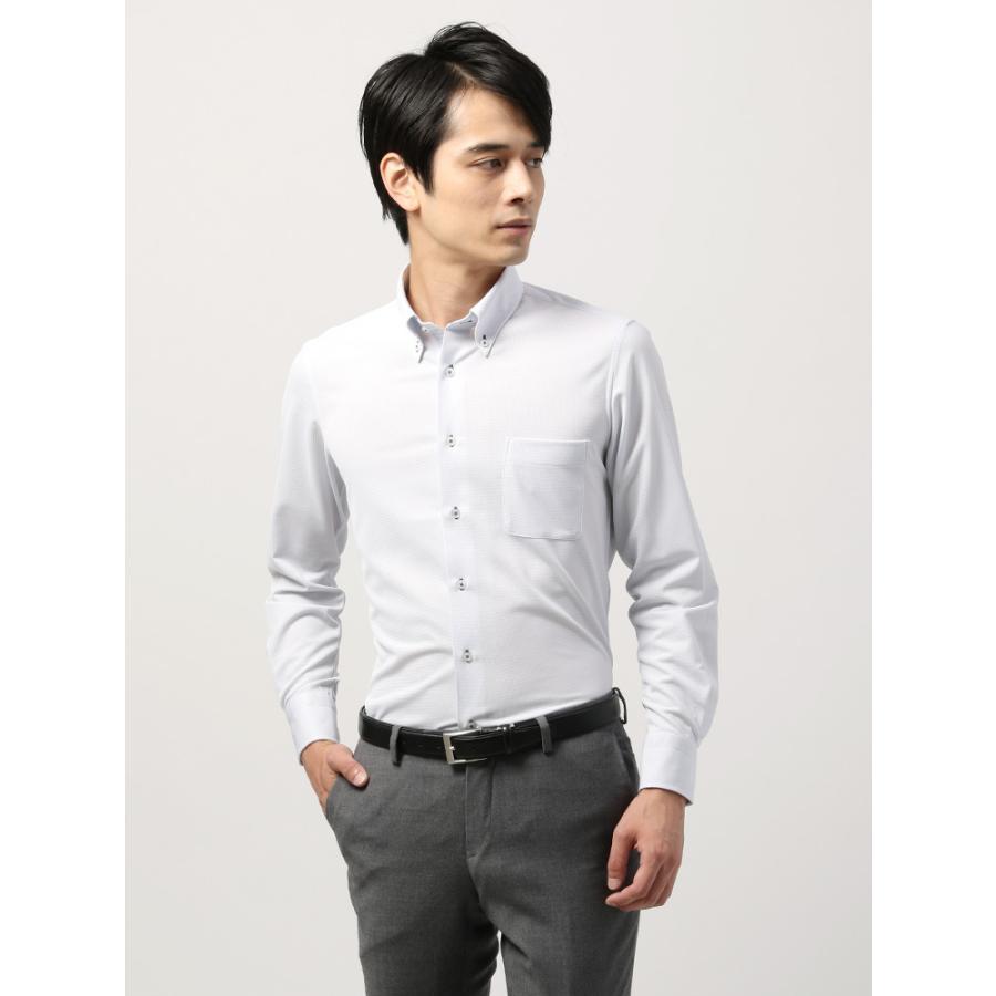 ドレスシャツ/長袖/メンズ/ノンアイロンジャージー素材/WE SUIT YOU/ボタンダウンカラードレスシャツ 織柄 ホワイト×ネイビー