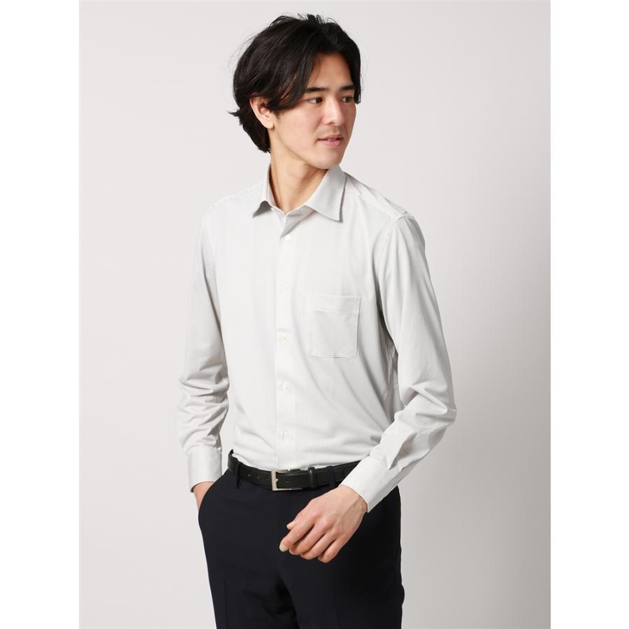 ドレスシャツ/長袖/メンズ/ノンアイロンジャージー素材/WE SUIT YOU/ワイドカラードレスシャツ ストライプ ブラウン×ホワイト