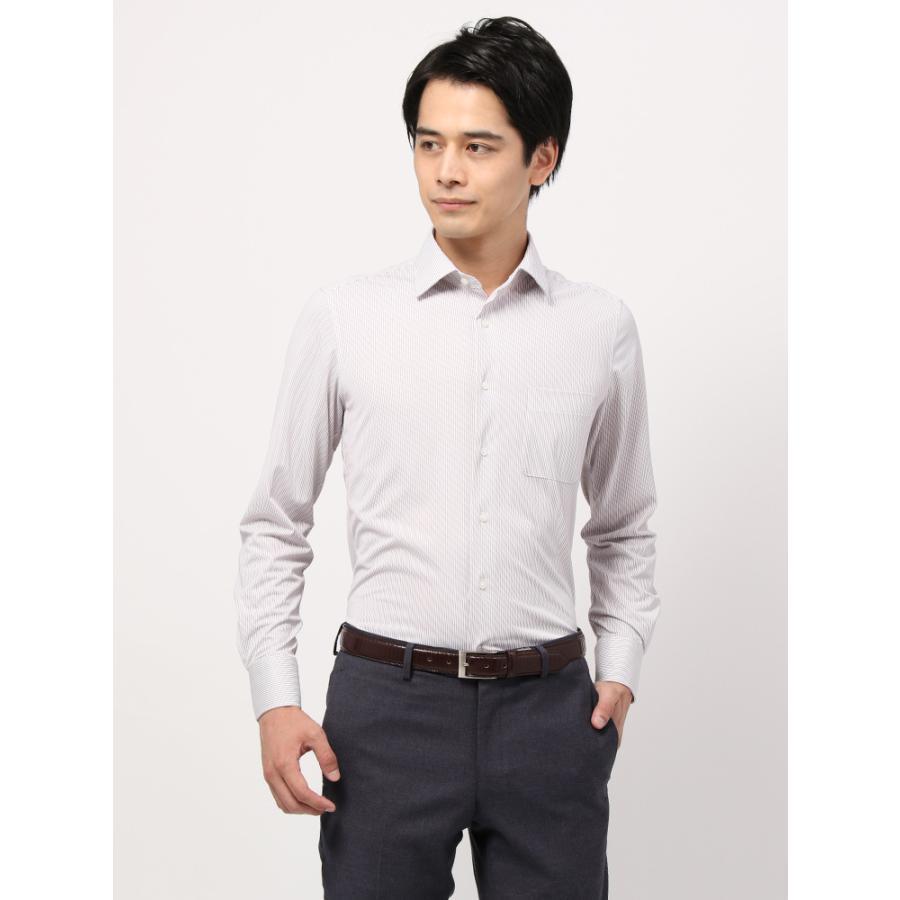 ドレスシャツ/長袖/メンズ/ノンアイロンジャージー素材/WE SUIT YOU/ワイドカラードレスシャツ ストライプ ボルドー×ホワイト