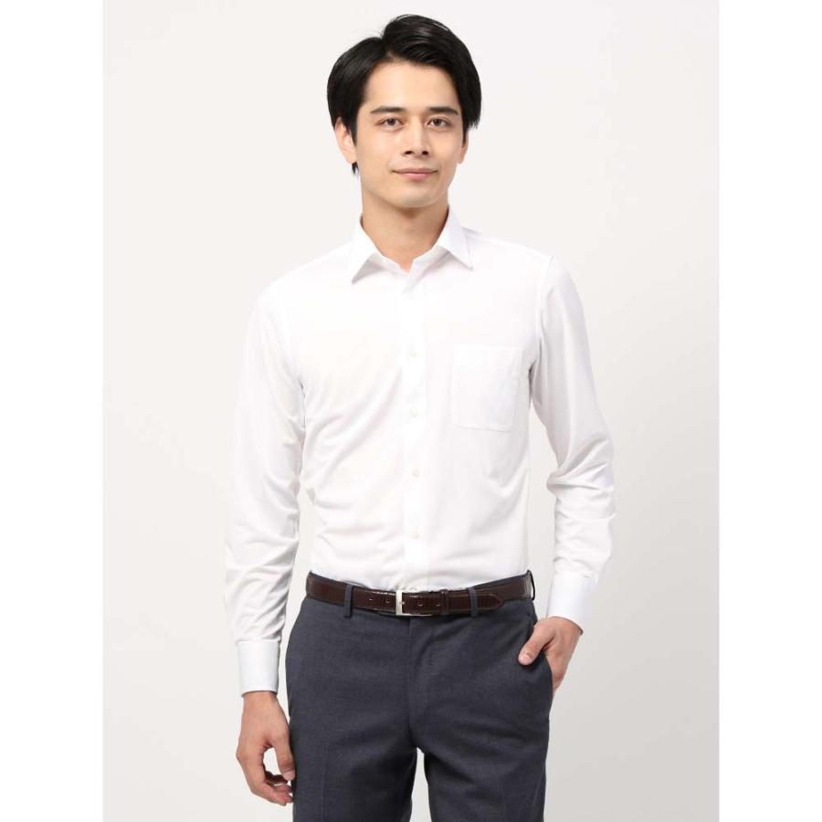 ドレスシャツ/長袖/メンズ/ノンアイロンジャージー素材/WE SUIT YOU/ワイドカラードレスシャツシャドーストライプ ホワイト