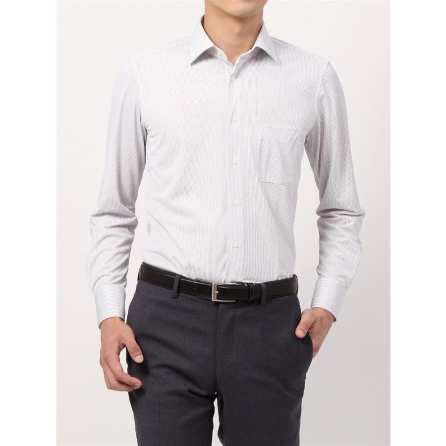 ドレスシャツ/長袖/メンズ/ノンアイロンジャージー素材/WE SUIT YOU/ワイドカラードレスシャツ ストライプ ライトグレー×ホワイト