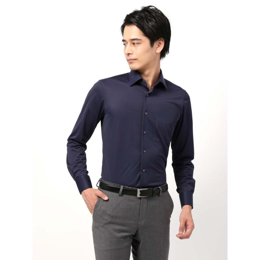 ドレスシャツ/長袖/メンズ/ノンアイロンジャージー素材/WE SUIT YOU/ワイドカラードレスシャツシャドーストライプ ネイビー