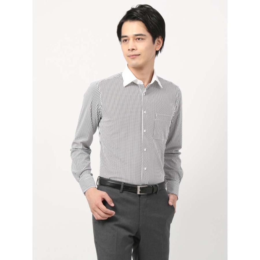 ドレスシャツ/長袖/メンズ/ノンアイロンジャージー素材/WE SUIT YOU/クレリック&ワイドカラードレスシャツ ブラック×ホワイト