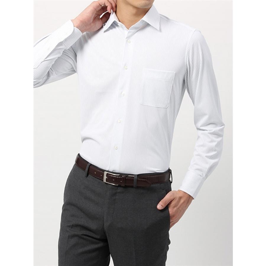 ドレスシャツ/長袖/メンズ/ノンアイロンジャージー素材/WE SUIT YOU/ワイドカラードレスシャツ ストライプ サックスブルー×ホワイト