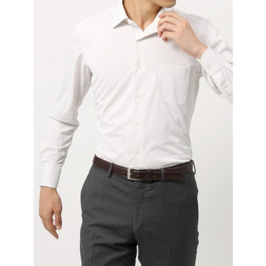 ドレスシャツ/長袖/メンズ/ノンアイロンジャージー素材/WE SUIT YOU/ワイドカラードレスシャツ ストライプ ベージュ×ホワイト