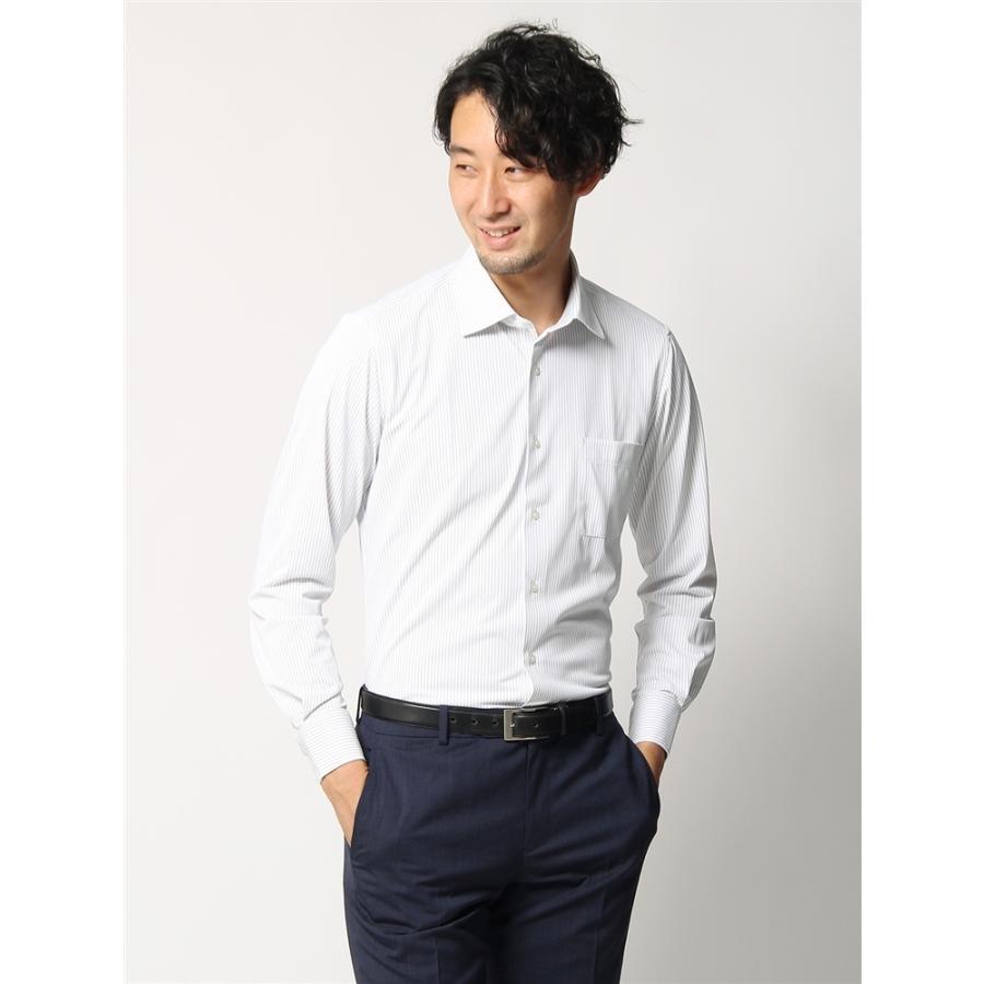 ドレスシャツ/長袖/メンズ/ノンアイロンジャージー素材/WE SUIT YOU/ワイドカラードレスシャツ ストライプ グレー×ホワイト