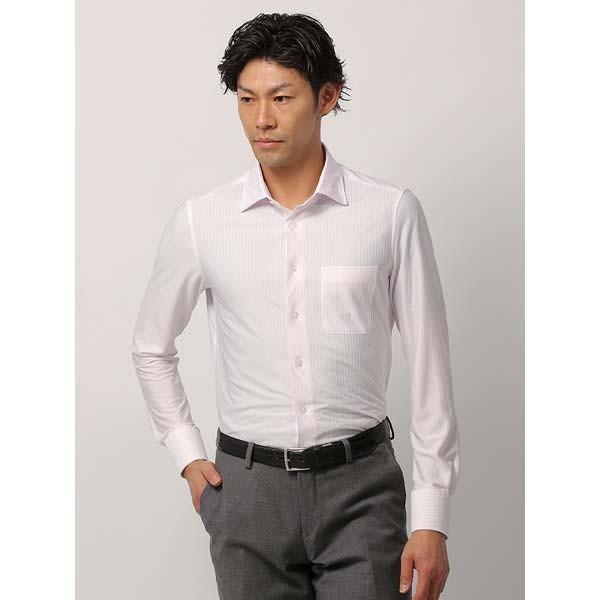 ドレスシャツ/長袖/メンズ/ノンアイロンジャージー素材/WE SUIT YOU/ワイドカラードレスシャツ ストライプ ピンク×ホワイト
