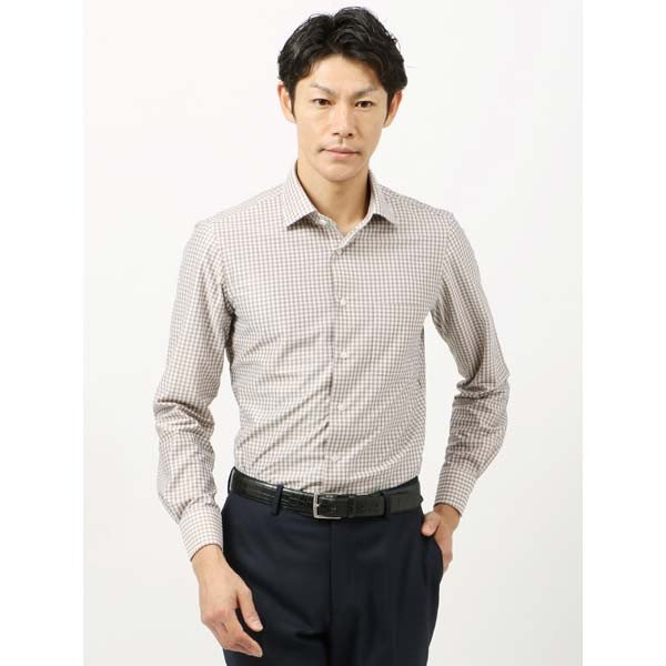 ドレスシャツ/長袖/メンズ/ノンアイロンジャージー素材/WE SUIT YOU/ワイドカラードレスシャツ ギンガムチェック ホワイト×ブラウン