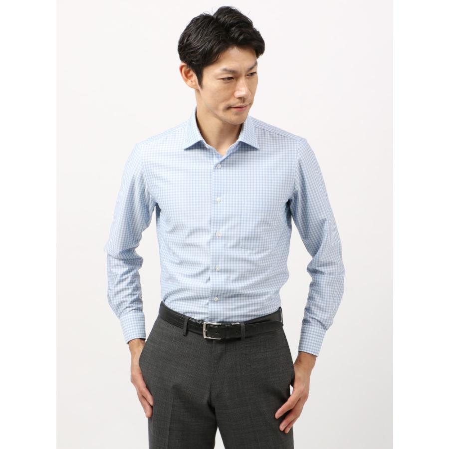 ドレスシャツ/長袖/メンズ/ノンアイロンジャージー素材/WE SUIT YOU/ワイドカラードレスシャツ ギンガムチェック ホワイト×ブルー