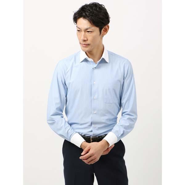 ドレスシャツ/長袖/メンズ/ノンアイロンジャージー素材/WE SUIT YOU/クレリック&ワイドカラードレスシャツ ブルー×ホワイト