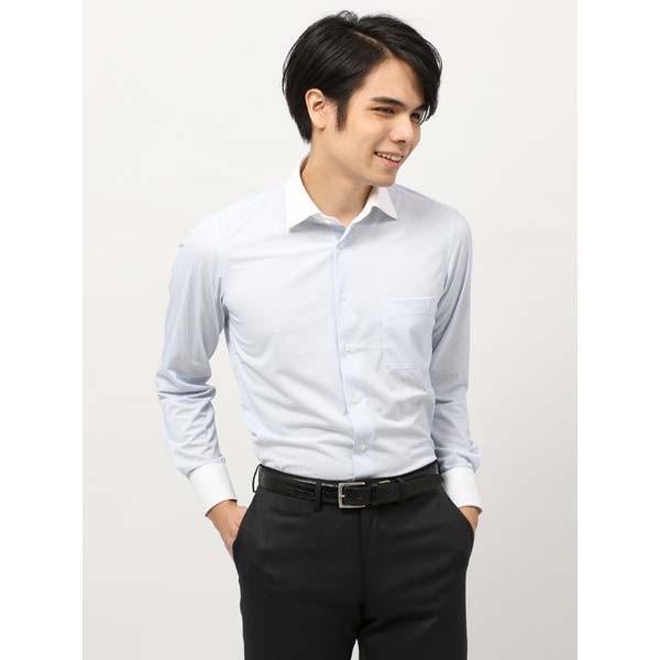 ドレスシャツ/長袖/メンズ/ノンアイロンジャージー素材/WE SUIT YOU/クレリック&ワイドカラードレスシャツ サックスブルー×ホワイト