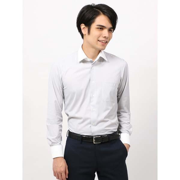 ドレスシャツ/長袖/メンズ/ノンアイロンジャージー素材/WE SUIT YOU/クレリック&ワイドカラードレスシャツ グレー×ホワイト